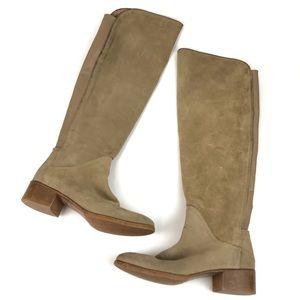 Zara Basic Tan Suede Knee High Riding Boots